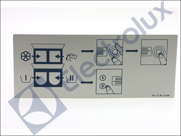 electrolux model w455h w555h detergent compartment handle sign
